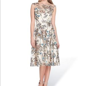 TAHARI Sequin Floral Embroidered A-Line Midi Dress
